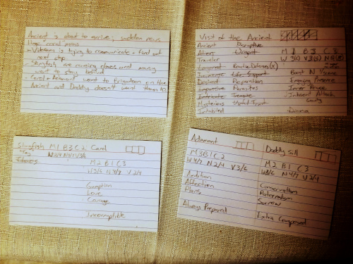 Four index cards with notes for a Rosette Diceless plot